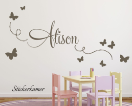 Muursticker vlinders met naam meisjeskamer