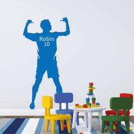 Muursticker voetbal met naam jongenskamer / kinderkamer