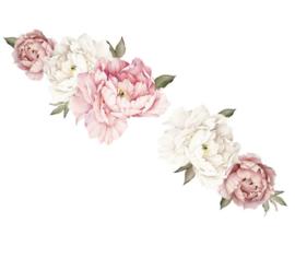 Muursticker pioenroos bloemen roze en wit