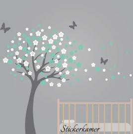 Bloesemboom mint en wit