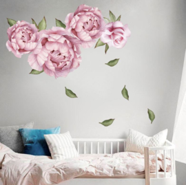 Muursticker pioenrozen roze wanddecoratie