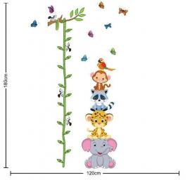 Muursticker groeimeter met schattige beesten vriendjes