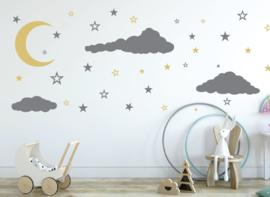 Muursticker maan, wolken en sterren kinderkamer / babykamer XXL
