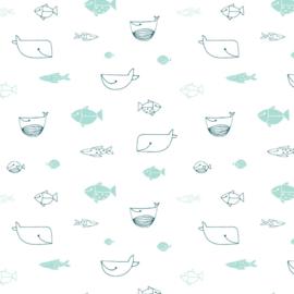 Behang - zeedieren motief / patroon