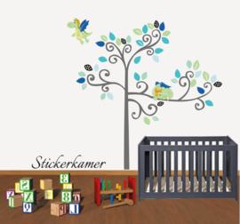 Muursticker boom met draakjes blauw / groen thema