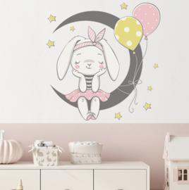 Muursticker konijn op maan  kinderkamer meisjes