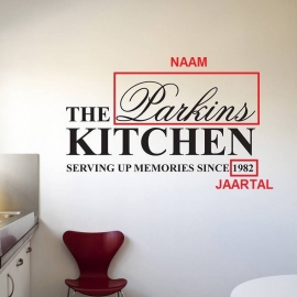 Eigen naam keuken sticker. The jouwnaam kitchen surving up memories since 19??
