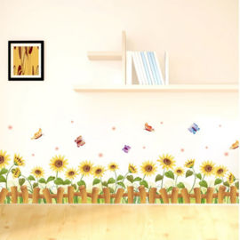 Muursticker zonnebloemen strook / plint geel