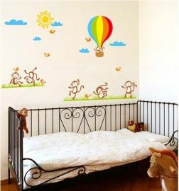 Muursticker apen en luchtballon