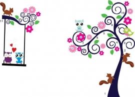 Muursticker boom sierlijk met uilen en vogels kinderkamer