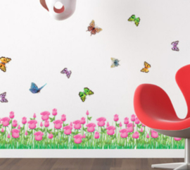 Muursticker bloemen strook vlinders roze kinderkamer
