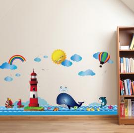 Muursticker zee / oceaan / vuurtoren / walvis / regenboog kinderkamer