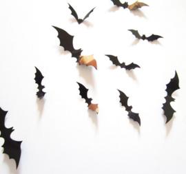 12 stuks 3d vleermuizen voor Halloween (zwart)