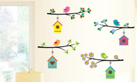 Muursticker vogelhuisjes takken kinderkamer