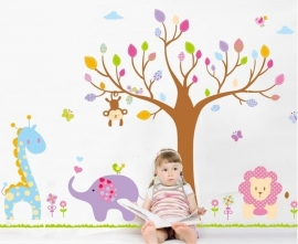 Muursticker boom safari beesten mix kinderkamer