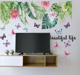 Muursticker tropisch groene planten variatie palmbladen muurdecoratie