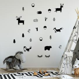 Muursticker dieren bos mix nordic stijl