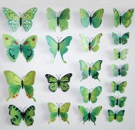 Kleurrijke 3D vlinders groen - 12 stuks - muurdecoratie babykamer