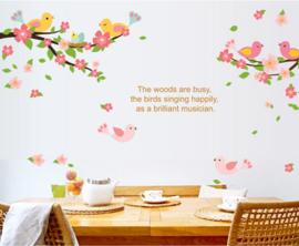 Takken en vogels met bloementjes en quote