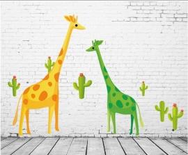 Giraffe en cactus groen / geel muursticker