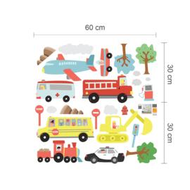 Muursticker auto voertuigen mix kinderkamer