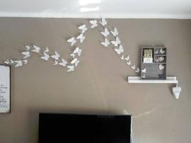 Muursticker losse 3d vlinders  wit