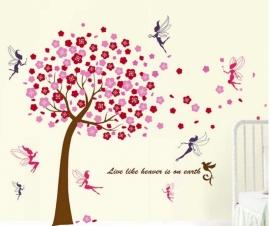 Muursticker roze bloesem boom met elfjes