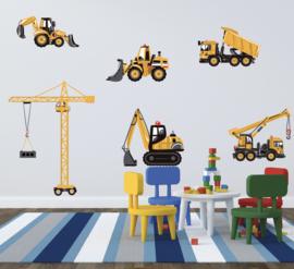 Muursticker auto's - wegenbouw kiepauto bouw voertuigen XL
