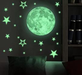Glow in the dark maan en sterren muursticker kinderkamer