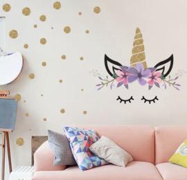 Muursticker unicorn - eenhoorn bloemetjes oogjes en stippen meisjeskamer / babykamer