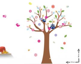 Muursticker boom met gekleurde blaadjes kinderkamer