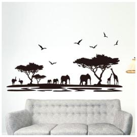 muursticker silhouette Afrika landschap uitzicht zwart