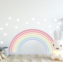 Muursticker regenboog zachte kleuren kinderkamer