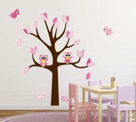 Muursticker roze boom met uilen en vogels meisjeskamer