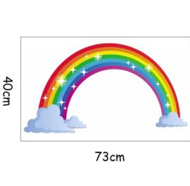 Muursticker regenboog en wolken kinderkamer