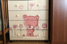 Muursticker Roze Teddy beer kinderkamer / babykamer