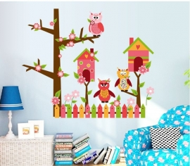 Muursticker uilen boom huisje