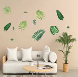 Muursticker tropisch palmblad groen blaadjes