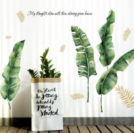 Muursticker tropische jungle bananenblad XL