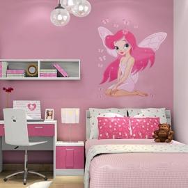 Muursticker fee tinkerbell prinses roze kinderkamer meisjes