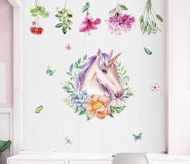 Muursticker unicorn - eenhoorn bloemen krans kinderkamer