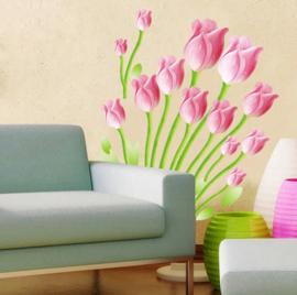 Muursticker tulpen bloemen wanddecoratie roze