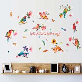 Muursticker gekleurde papegaai waterkleur / aquarel look