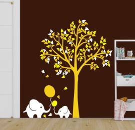 luxe muursticker boom met olifant geel