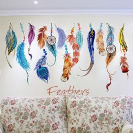 Muursticker vrolijk gekleurde veren