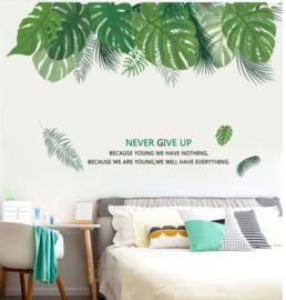 Muursticker tropisch decoratieve groene palmbladen strook stickers