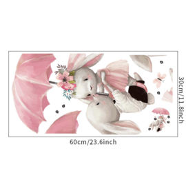 Muursticker konijnen paraplu kinderkamer