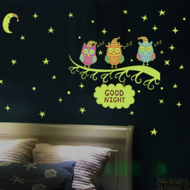 Muursticker uilen tak glow in the dark