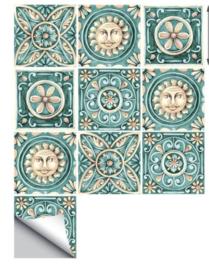 Tegel stickers italiaans design ruitjes 15x15 cm