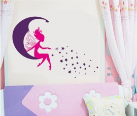 Muursticker elf op maan en sterren meisjeskamer